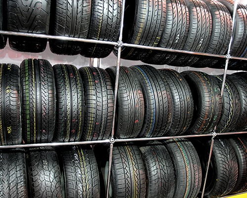 Tires on shelves